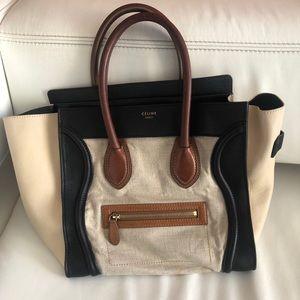 Celine luggage phantom leathercanvas tricolor bag
